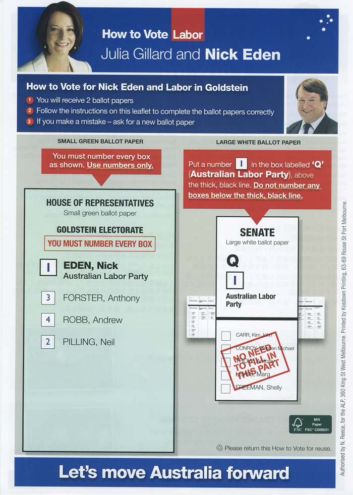 howtovotecards used in australian elections